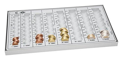 Preisvergleich Produktbild Wedo 160800037 Kompakt-Geld-Zählbrett (aus Polystyrol, mit Metallboden, 8 Münzrillen, rutschfesten Gummifüßen, 33,3 x 18,3 x 3,1 cm) lichtgrau