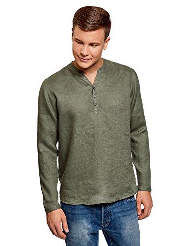 Oodji ultra uomo camicia in lino senza colletto, verde, 41cm/it 48/eu 50/m
