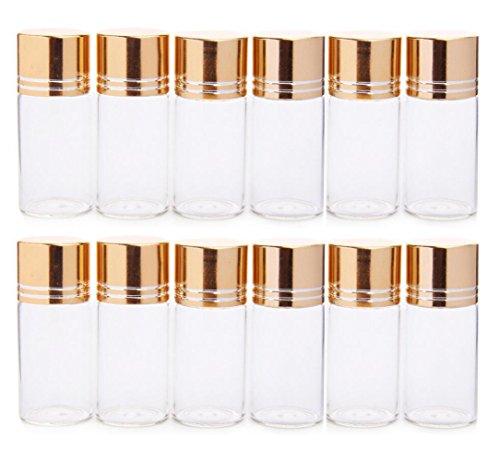12 STÜCKE 10 ML 0,35 UNZE Leere Nachfüllbare Klarglasflasche mit Gold Abdeckung Mini Tragbare Pulver Tablet Adlerholz Versiegelt Gläser Kosmetische Probenahme Probenvorratsbehälter