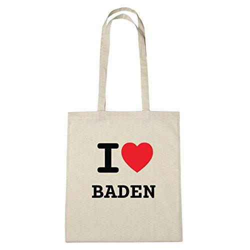 JOllify Baden di cotone felpato B2770 schwarz: New York, London, Paris, Tokyo natur: I love - Ich liebe