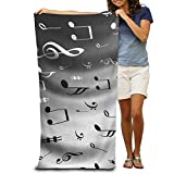 Gebrb Serviette de Bain, Serviettes, Black White Musical Note Luxurious Polyester Swim Bath Sheets Large Towel for Beach Blanket Cover Tent Floor Yoga Mat 31.5' X 51.2',Natural Soft Quick Dry