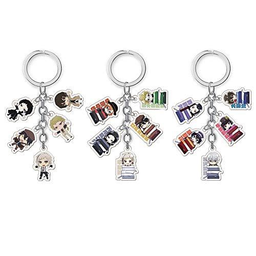 Saicowordist Anime Bungo Stray Dogs Nette Acryl 5 Puppe Anhänger Schlüsselbund Sammeln Transparent Doppelseitige Schlüsselanhänger Neuheit Tasche Zubehör Anime Fans Geschenk( 3PCS) (Puppe Sammeln)