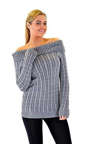 Mesdames de l'épaule par câble en tricot à manches longues Jumper Top Dress Charbon de bois