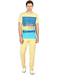 Nightwear For Men - Night Suit - Tshirt & Pyjama Combo Set - Sinker Material - Yellow Color - Half Sleeves - Branded...