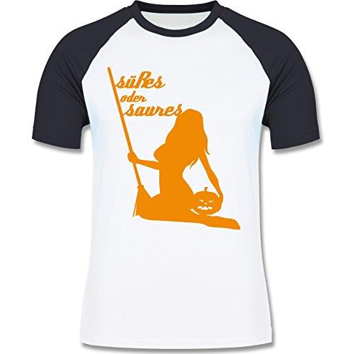 Halloween - Süßes oder Saures - zweifarbiges Baseballshirt für Männer Weiß/Navy Blau