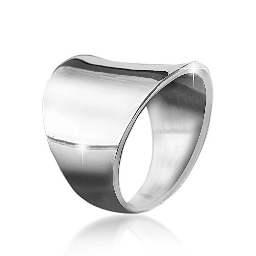 MATERIA Damen Herren Ring Gravur FINN - 925 Silber Ring groß breit 16 17 18 19 20 mm inkl. Ring Box #SR-33, Ringgrößen:62 (19.7 mm Ø)