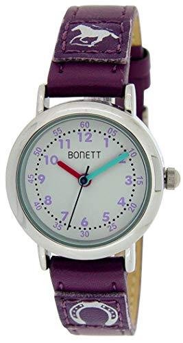 Bonett Kinder Uhr Mädchen Armbanduhr Pferd Pony Leder Armband Kinderuhr 1458L