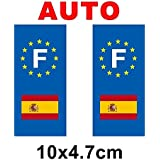 Autocollant plaque immatriculation drapeau espagne - Auto
