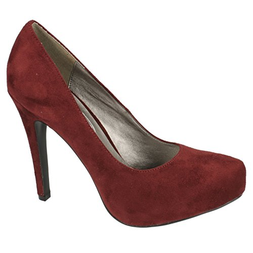 Spot On - Scarpe Décolleté in Microfibra con tacco alto - Donna (40 EU) (Bordeaux)