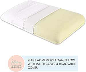"""The White Willow Orthopedic Memory Foam Extra Large King Big Size Neck & Back Support Sleeping Bed Pillow with Removable Zipper Cover (27"""" L x 17.5"""" W x 5"""" H) -White"""