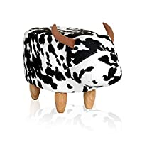 Outwin Animal Storage Ottoman Foot Rest Stool,Padded Cushion Footstool Pouffe Stool Rest Seat with 4 Wooden Legs for Kids or Adults
