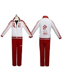 RenXinU Yuri!!! on Ice Viktor Victor Nikiforov Cosplay Costume Conjunto de Blazer + Pantalones Sport Jersey Jacket+Pants Color Blanco Tamaño L