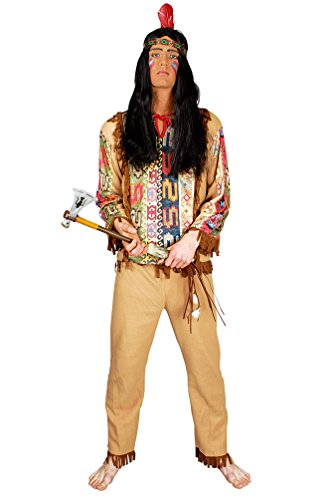 Karneval Klamotten Indianer Kostüm Herren beige Kostün Indianer Karneval Herrenkostüm Größe (Indianer Navajos Kostüme)