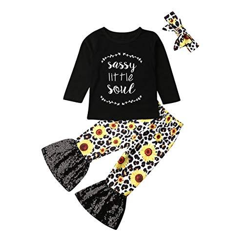 3pcs Kleinkind Baby Mädchen Outfit kleine Schwester Lange Ärmel T-Shirt Tops + Sonnenblumen Flares Hosen Bell-Bottoms + Stirnband Baby Kleidung (Black, 18-24m)