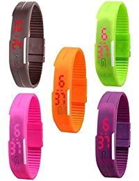 Star Villa Digital Multi Colour (Combo) Pack Of 4 And Get 1 Free Dial Slim & Led Bracelet Watch For Kids