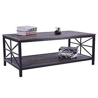 Aingoo Industrieller Vintage Couchtisch mit schwarzem Metallrahmen Cocktailtisch mit Regal Wohnzimmer Möbel braun