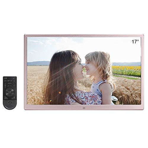 DINGYUFA 17 Zoll Digitaler Bilderrahmen 1080P HD LCD Display Elektronischer Bilderrahmen mit USB/SD-Anschluss, Video / MP3 / Werbeanzeige/Digitaluhr/Kalender (E-mail-bilderrahmen)