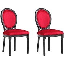 INSIDE Lot De 2 Chaises Medaillon Versailles Style Louis XVI Velours Rouge
