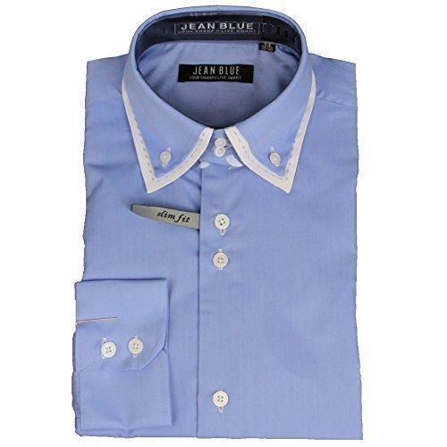Uomo Doppio Con Colletto Slim Fit Elegante A Maniche Lunghe Camicie By Jean Blue Blu - BHST2