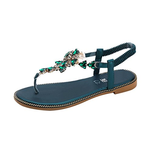 MOIKA Damen Sandalen, Sommer Elegant B?hmen Schuhe Flache Sandalen Schuhe Mode Strandschuhe Zehentrenner Pantoletten Riemchensandalen(EU34,Grün
