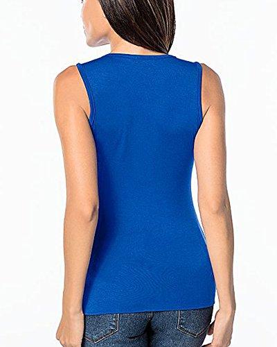 Damen Beiläufige Reißverschluss Ärmellos Side Split Basic T-Shirt Oberteile Seitenschlitz Tank Tops Bluse Hemd Saphirblau