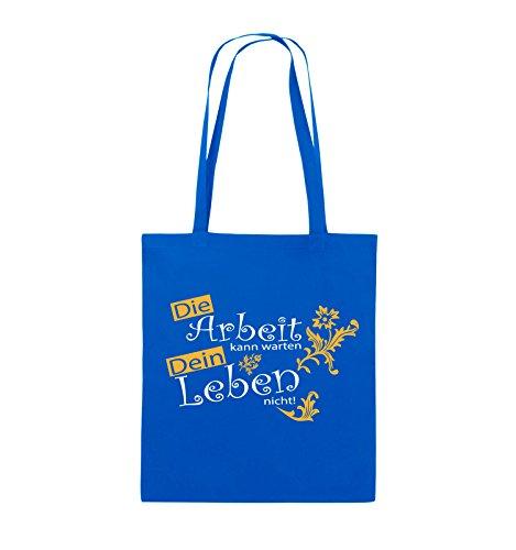 Comedy Bags - Die Arbeit kann warten dein Leben nicht! - Jutebeutel - lange Henkel - 38x42cm - Farbe: Schwarz / Weiss-Neongrün Royalblau / Weiss-Gelb