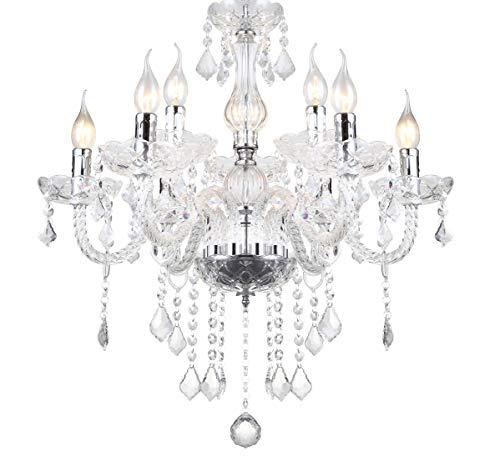 Klassischer Glas Kristall Kronleuchter Deckenleuchte Deckenlampe Hängelampe Hängeleuchte Wohnzimmerlampe Lampe Licht Leuchte Esszimmer XL 56x56x80cm 9 Arm