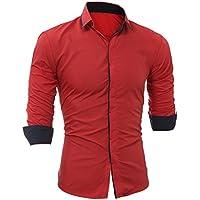 WWricotta Camisetas Hombre Manga Larga Color Sólido Slim Fit Streetwear Casual Negocio Camisas Formales