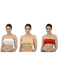 Ishita Fashions Tube Bra Seamless Strapless Bandeau Top (White, Skin, Red) - 3 PCs Combo
