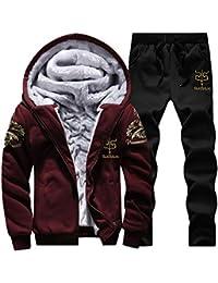ITISME Herren Pullover Mens Hoodie Winter warme Fleece Zipper Sweater Jacke Outwear Mantel Top Hosen Sets