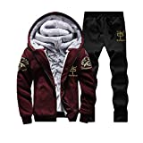 JUTOO Mens Hoodie Winter Warm Fleece Zipper Sweater Jacke Outwear Mantel Top Hosen Sets(A1-rot,X-Large)