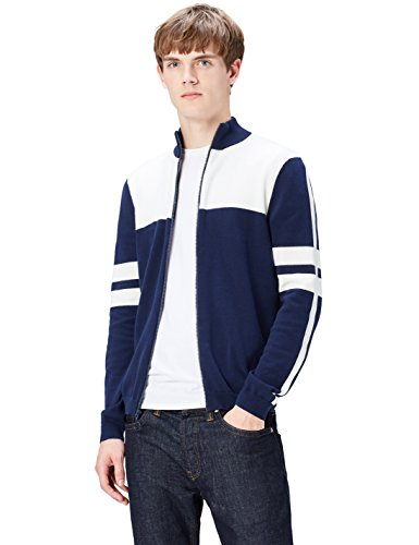 FIND Jacke Herren aus Strick, mit Colour-Blocking, Reißverschluss, Stehkragen, Blau (Navy), 52 (Herstellergröße: Large)