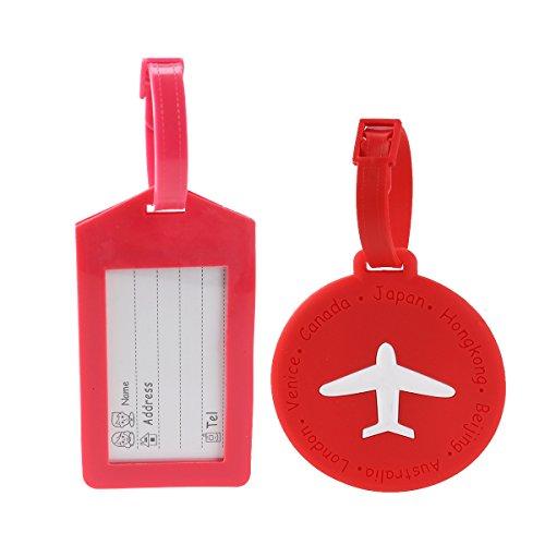 Tinksky 2 piezas Etiqueta de equipaje Bolsa de equipaje ID Tag Maleta Tag titular titular de la tarjeta para viajar (rojo y rosa roja)