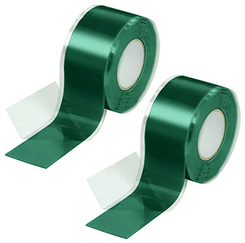 Poppstar - Nastro in silicone 2x 3m autoagglomerante, fascia in silicone per riparazione nastro, nastro isolante e nastro di tenuta (acqua, aria), largo 25 mm, verde
