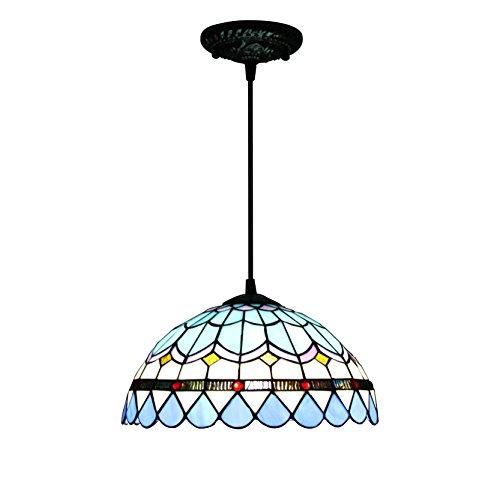 12 pouces bleu plume méditerranéenne pastorale antique de luxe Tiffany style fait main lampe pendante en verre bas de lumière