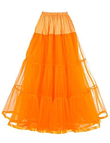 Honeystore Damen's Hochzeit Unterkleid Lang Ballet Petticoat Tutu Rock Orange