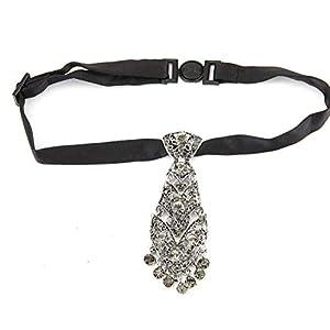 Aisoway Kristall Strass Krawatte Lange Narrow Ketten Sexy Kragen Krawatte Mit Deko-muster-tanzen-legierung Schmucksache-zusatz