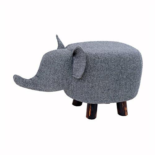 YYdy- Kreative Holzbank für Kinder Sofa Hocker Gepolstert Ottoman Fußbank Fußstütze Kleine Sitz Fußstütze Stuhl Ändern Schuhe Hocker Geeignet für Wohnzimmer Schlafzimmer Baby Elephant Design