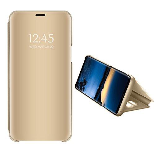 Samsung galaxy a7 2018 cover clear view standing cover flip case cover custodia con funzione protecter shell in pelle protettiva per galaxy a7 2018 (oro, samsung galaxy a7 2018)