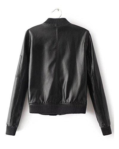 SaiDeng Femme Punk Style Veste En Cuir Manche Longue Manteau Moto Veste Noir