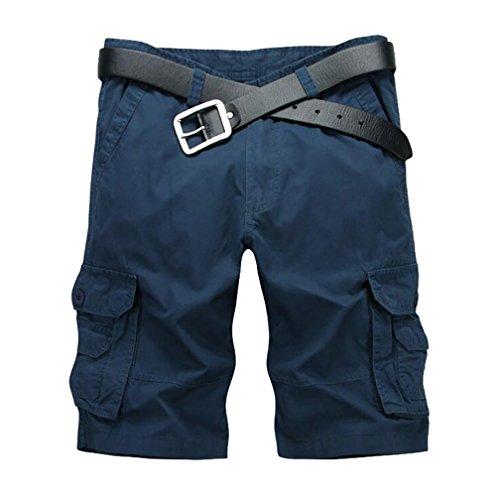 ZKOO Uomo Estivi Cargo Short Cotone Bermuda Cargo Pantaloni Corti con Tasconi Laterali Outdoor Shorts Spiaggia Pantaloncini Casuale Zaffiro