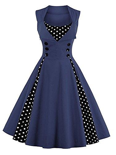 Minetom Damen Polka Dots Vintage 50er Elegantes Ärmellos Abendkleid mit Knöpfe Rockabilly Swing Cocktailkleid Marine Blau DE 42 (T-shirt Marine-blau-damen Strass)