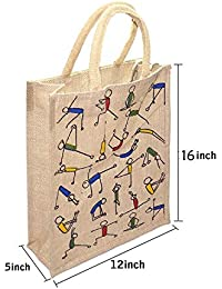 MasterStor Pack Of 1 Multipurpose Yoga Print Jute Bag Everyday Use And Easy To Clean Shopping Bag