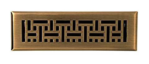 Accord AMFRABB210 Floor Register with Wicker Design, 2-Inch x 10-Inch(Duct Opening Measurements), Antique Brass by Greystone Home Products