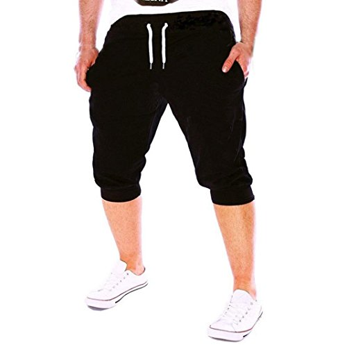 Kurze Hose Herren Sommer Fit Elastische Lässige Sportbekleidung Fitnesstraining Jogginghose GreatestPAK,Schwarz,XL
