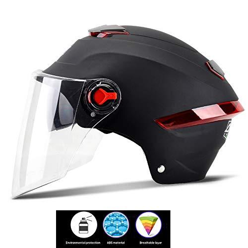 helmetCasque de Moto avec visière supplémentaire Noire Visière Transparente et Anti-Rayures pour Dames et Messieurs Casque de vélo réglable Protection intégrale au Design élégant