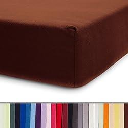 Lumaland Comfort Jersey Spannbettlaken 100 % Baumwolle mit Rundum-Gummizug 100 x 200 cm - 120 x 200 cm Braun