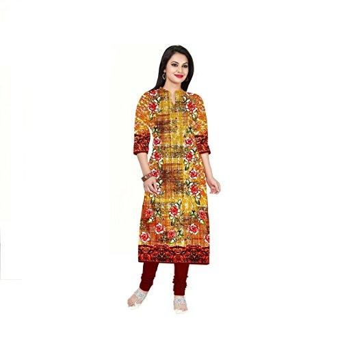 New Cotton Multi Colour latest fashionable trendy designer long stright printed Straight Long kurtis/kurta/kurtas/kurti/kurti's/kameez/kurthi's/kurthi with Designer neck and 3/4 Sleeves for college girl/girls/women/womens/women's/lady/ladies( Alterable adjustable Free Size )  available at amazon for Rs.199