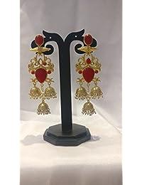 Ratnatraya Red Artificial Gemstones And White Kundan Jhumka Earrings   Fancy Designer Gold Polished Zumka Ear...