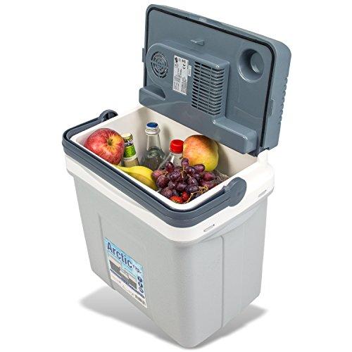 noorsk Elektrische Kühlbox mit 12 Volt und 220 Volt Anschluss Verschiedene Größen Thermobox für Auto und Camping - Grau - 22 L